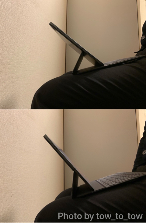 iPad Pro膝の上での作業
