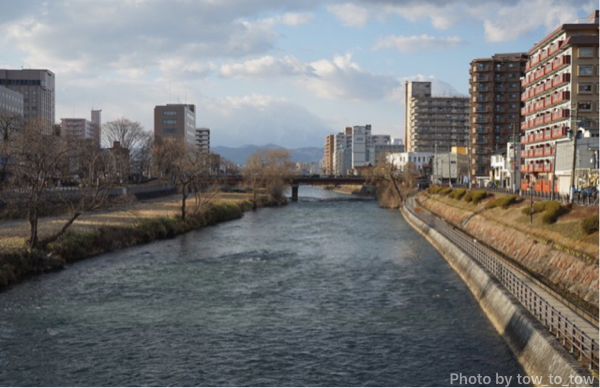 盛岡市内 北上川と岩手山