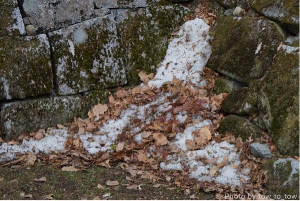 盛岡城石垣と残雪