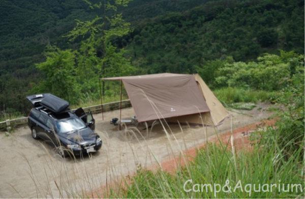 ほったらかしキャンプ場区画サイト5番俯瞰