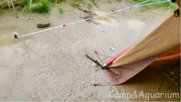 ほったらかしキャンプ場区画サイト5番水はけ